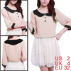 5218 Lady Pink Peter Pan Collar 3/4 Sleeves Patternless Blouse XS