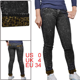 Woman Belt Loop Leopard Print Pocket Pencil Pants Demin Jeans Black XS