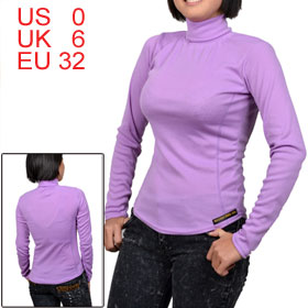 Women Purple Turtleneck Long Sleeve Rib Formfitting Shirt XS