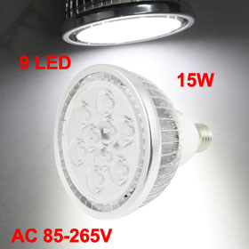 15W 9 LEDs White Light E27 Screw Base Lamp Bulb AC 85-265V