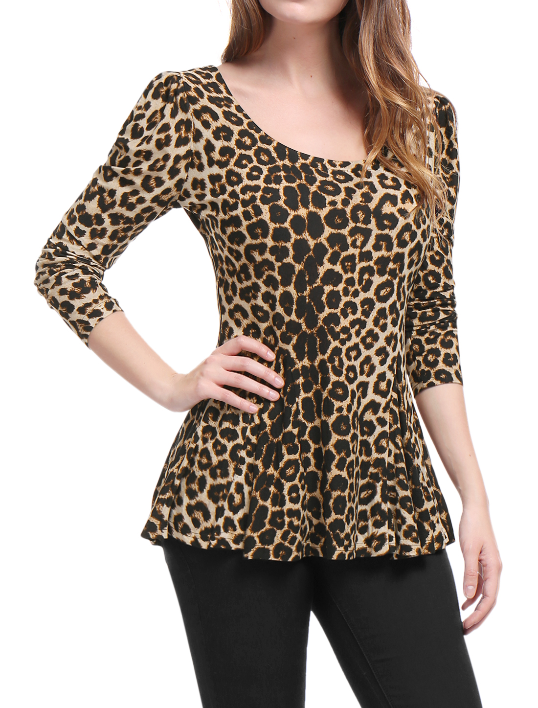 Ladies Leopard Prints Stretchy Autumn Peplum Shirt Beige Black /S