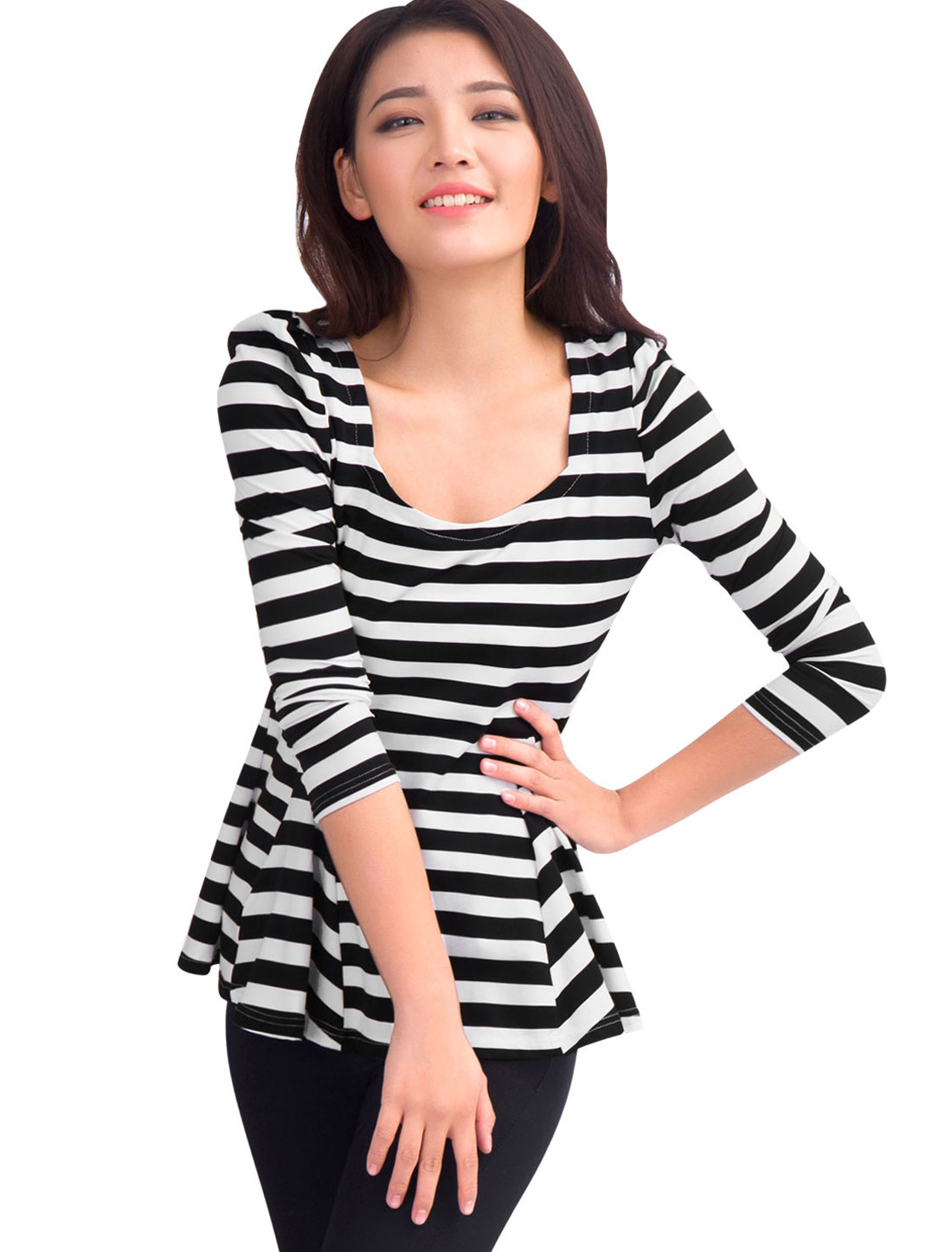 Lady Stretchy Scoop Neck Long Sleeves Black White Stripes Tunic S