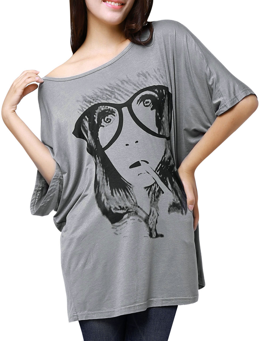 Women Batwing Sleeve Portrait Print Front Loose Tunic Top Gray S