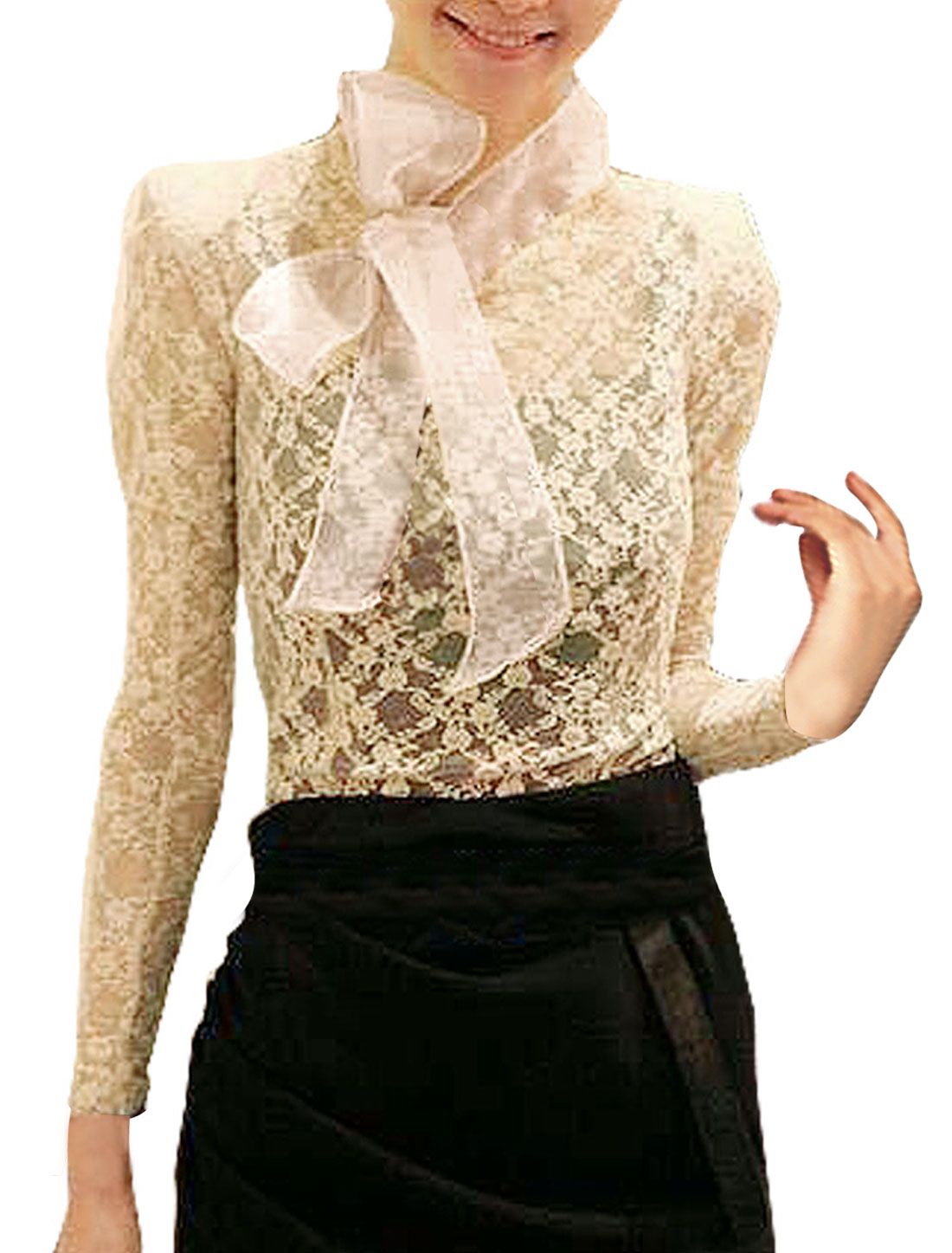 Beige Self Tie Knot Stand Collar Sheer Lace Shirt XS for Women