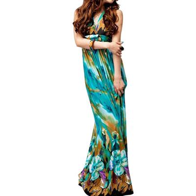 Self Tie Halter Neck Bare Back Teal Flower Print BOHO Long Dress XS for Women