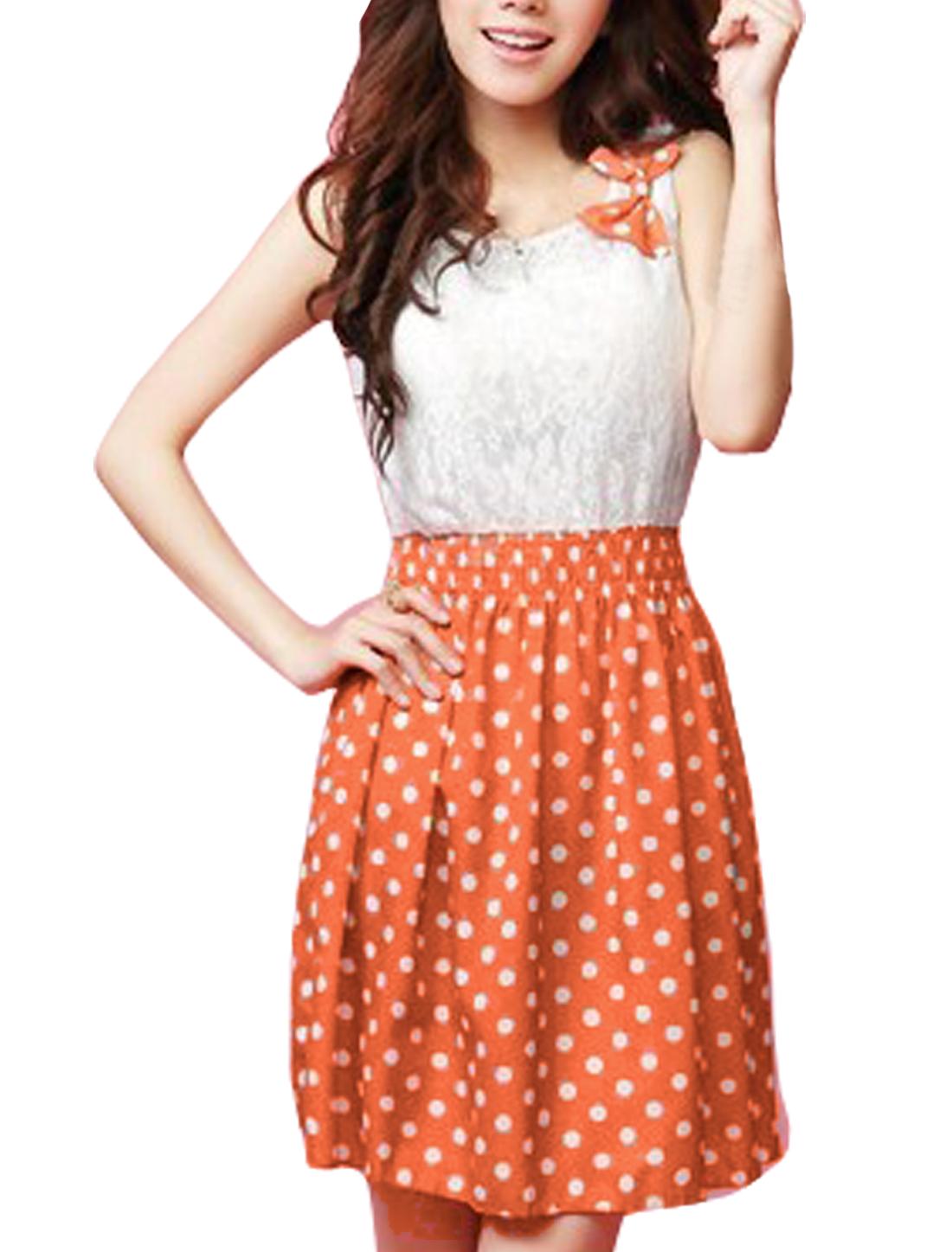 Women Sleeveless Dots Design Butterfly Knot Left Upper Dress Orange S