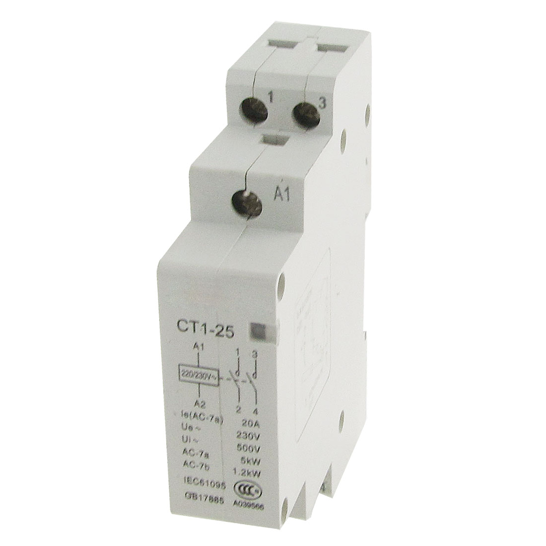AC 230V 20A 2 Poles 2P Household Modular AC Contactor 35mm DIN Rail Mount