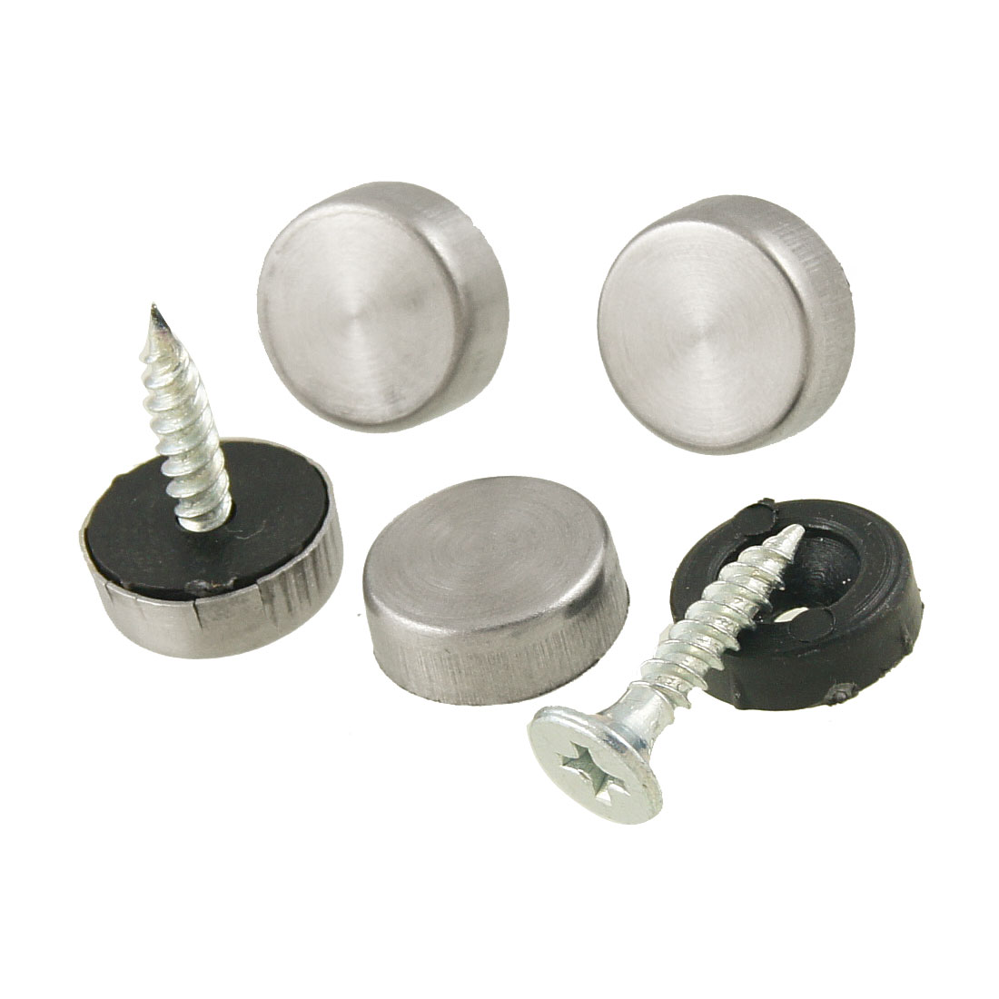 4 Pcs 3mm Dia Screws Metal Silver Tone Flat Head Mirror Caps