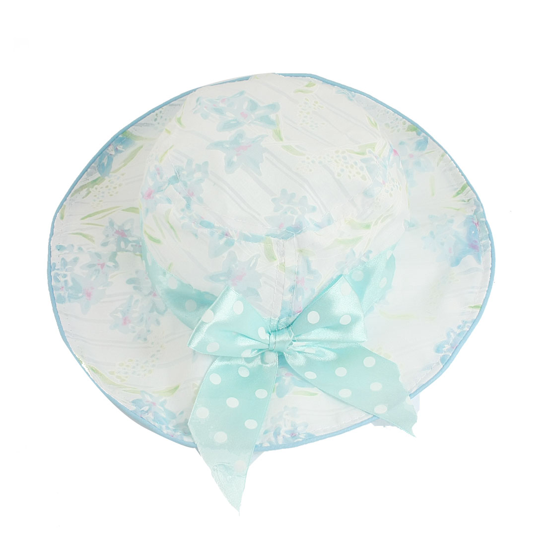 Baby Kids White Floral Print Dotted Bowknot Decor Round Bucket Hat w Stretchable Strap