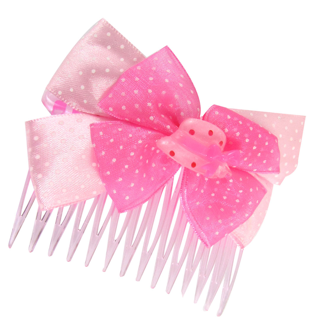 Pink Magenta Bowknot White Dotted Plastic Hat Decor 14 Tooth Comb Hair Clips for Lady