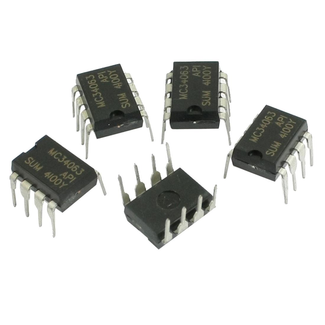 5 Pcs MC34063 DC to DC Converter Control Circuit 3.0-40V Output Current 1.5A DIP-8