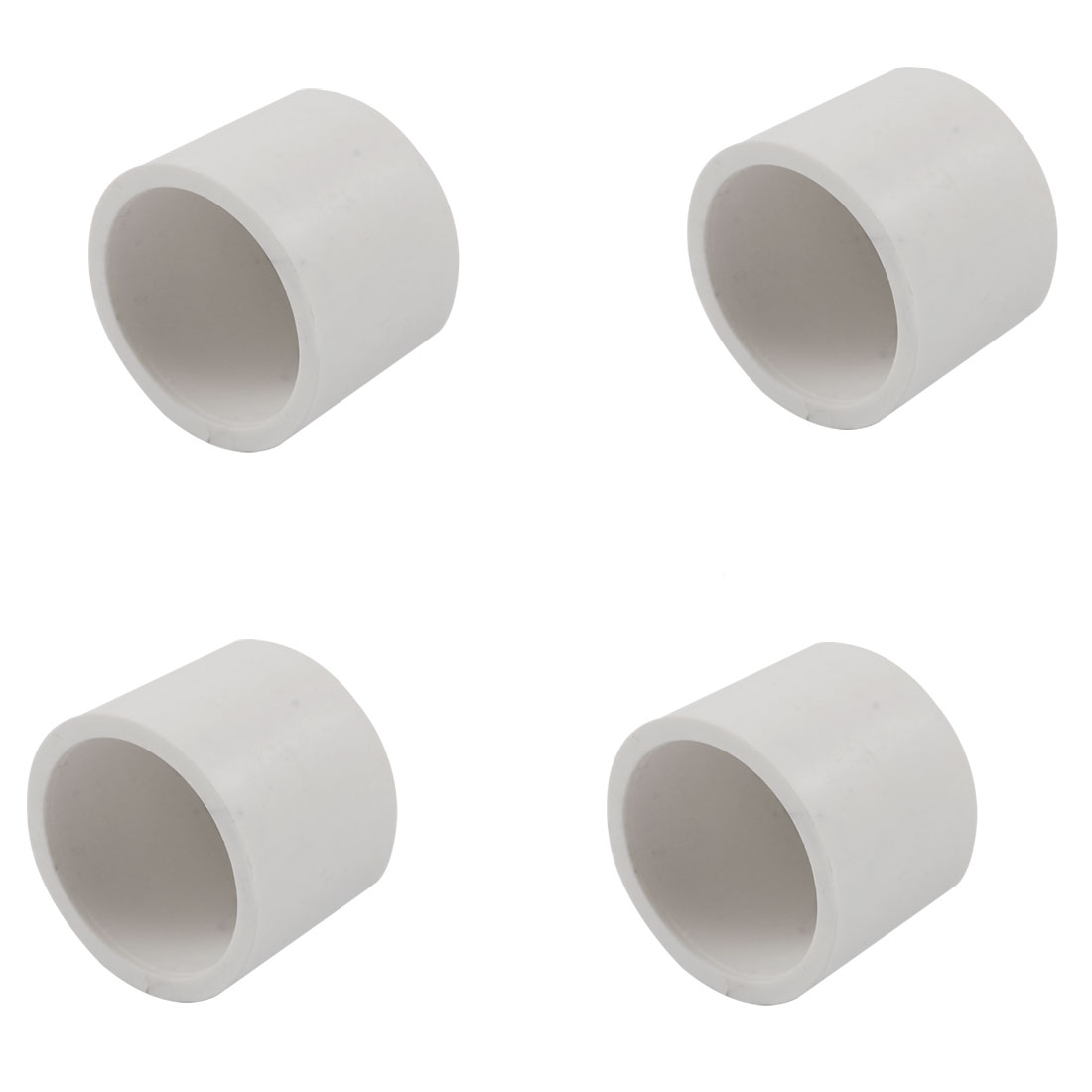 25.2mm White PVC Hose Tube End Fitting Adapter Caps 4 Pcs