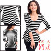 Lady Stretchy Scoop Neck Long Sleeves Pullover Black White Stripes Tunic S