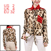 Women Long Sleeve Leopard Prints Semi Sheer Chiffon Blouse Beige Coffee XS