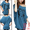Women Batwing Sleeve Portrait Print Front Loose Tunic Top Navy Blue S
