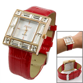 Clear Plastic Crystal Detailings Red Faux Leather Band Quartz Wrist Watch for Lady