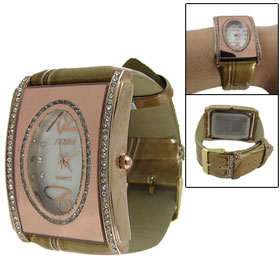 Ladies Copper Tone Crocodile Pattern Faux Leather Band Oval Dial Rectangle Rhinestone Decor Case Wrist Watch