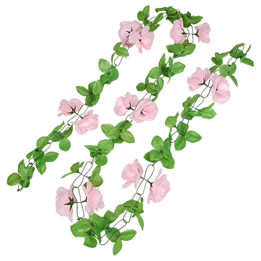 Festivals Wedding Green Leaf Fabric Pink Roses Artificial Hanging Bouquet 2.4M