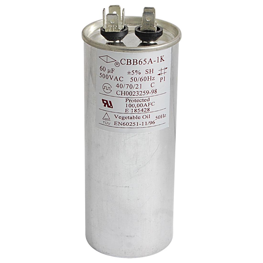 AC 500V 50/60Hz Cylinder Motor Capacitor 60uF