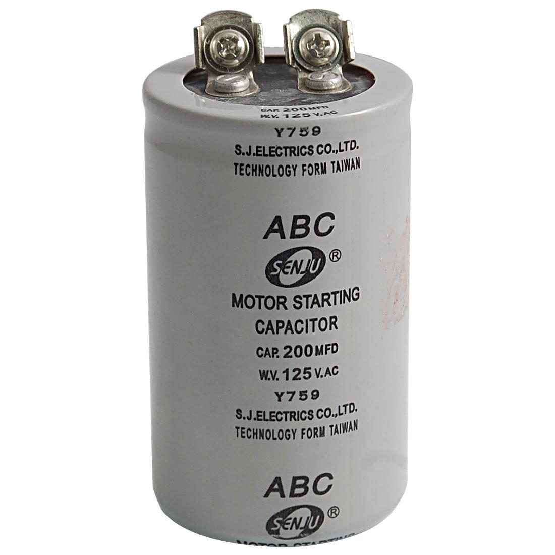 AC 125V 200uF 200MFD 2 Terminals Motor Start Capacitor