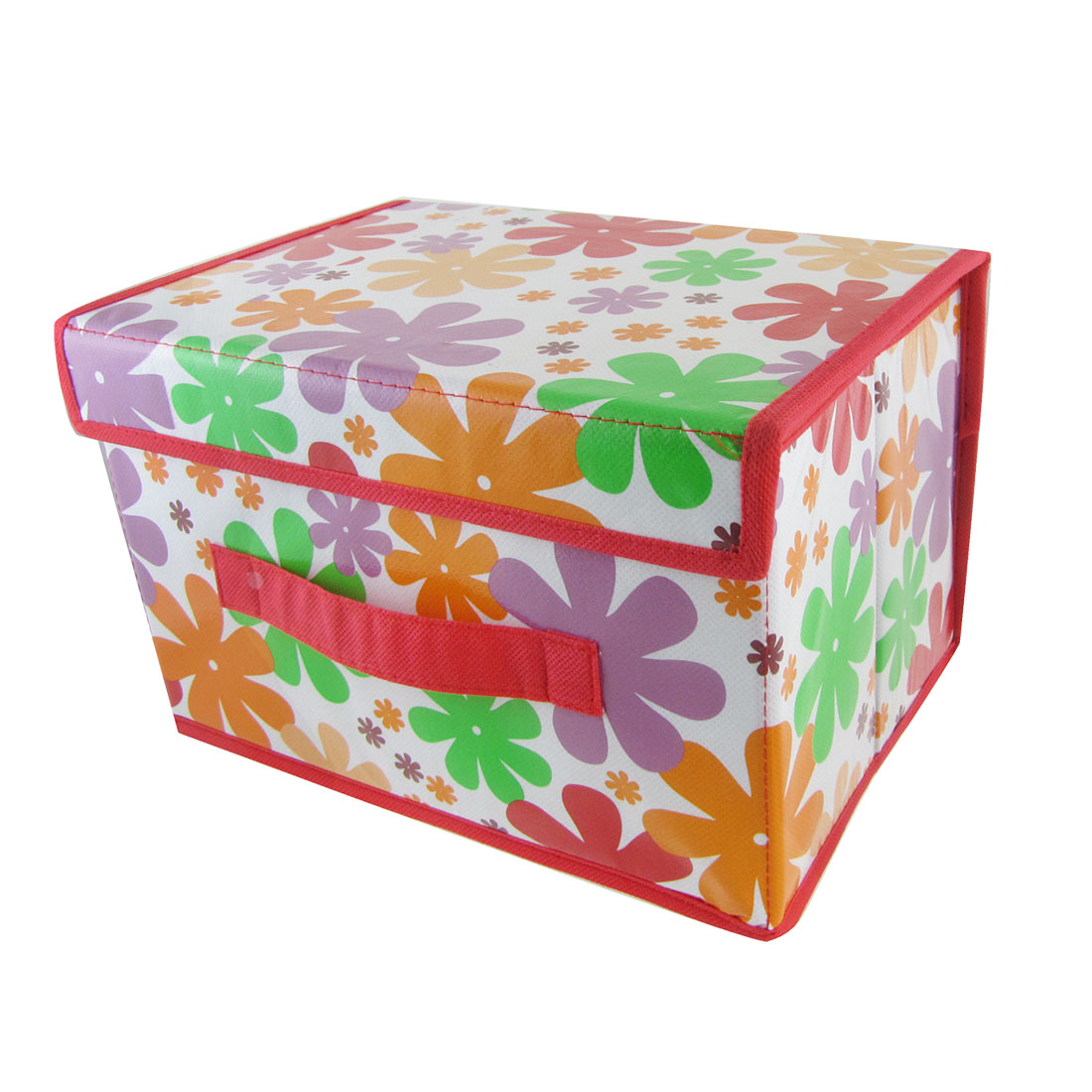 Colorful Flower Pattern Red PVC Home Storage Organizer Box