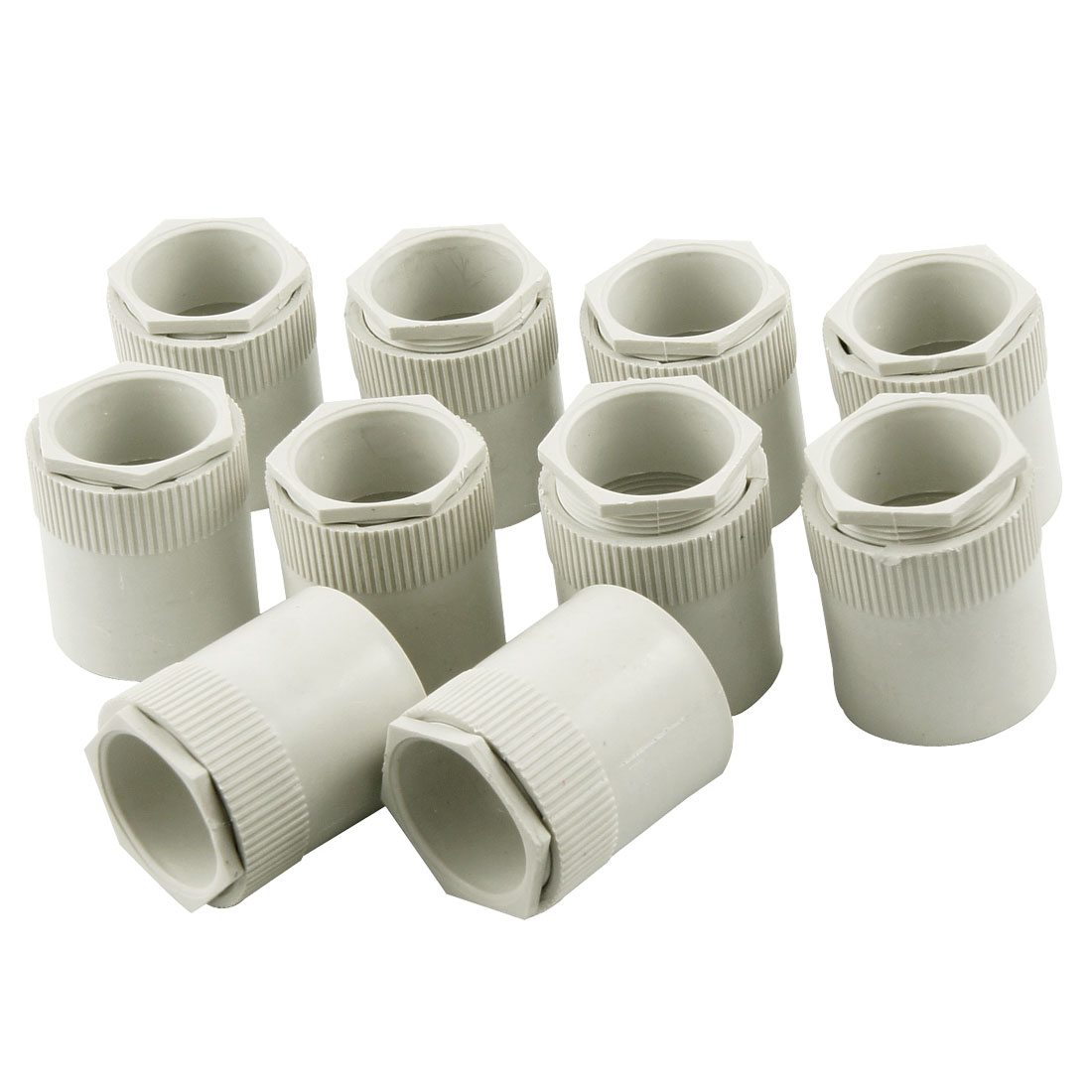 10 Pcs White PVC 31mm Thread Straight Electrical Wire Pipe Connector