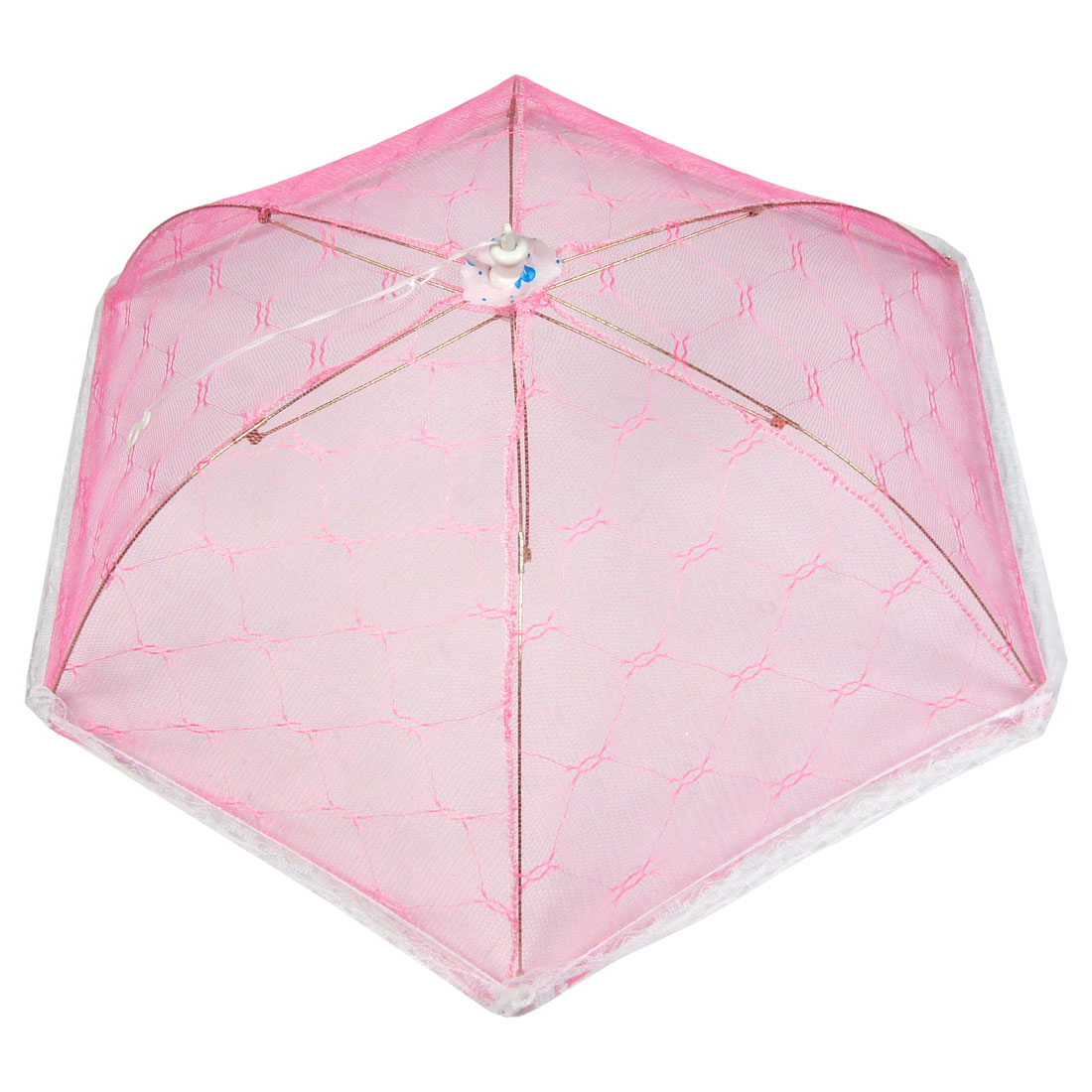 Pink Collapsible White Lace Hem Nylon Mesh Umbrella Food Cover