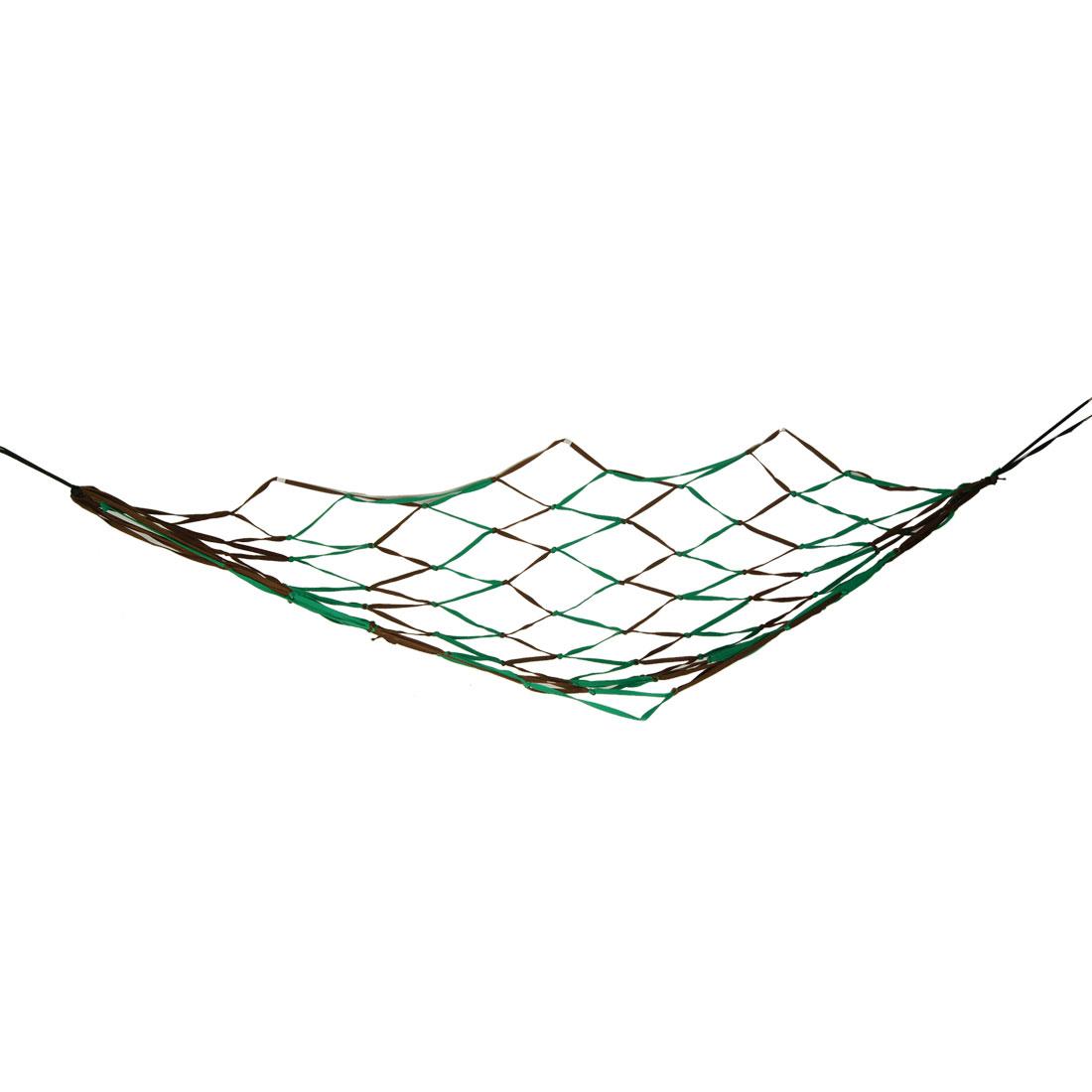 "Outdoor Travel Swing Hammock Mesh Net Nylon Sleeping Bed Green Brown 79"" x 43"""