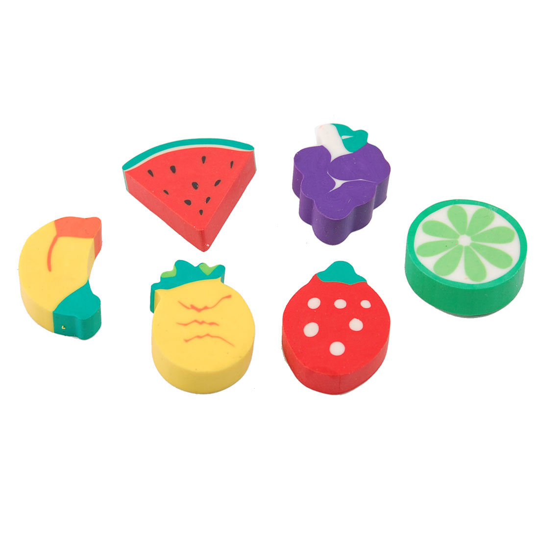 6 Pcs Children Multicolor Banana Strawberry Grape Fruit Rubber Eraser