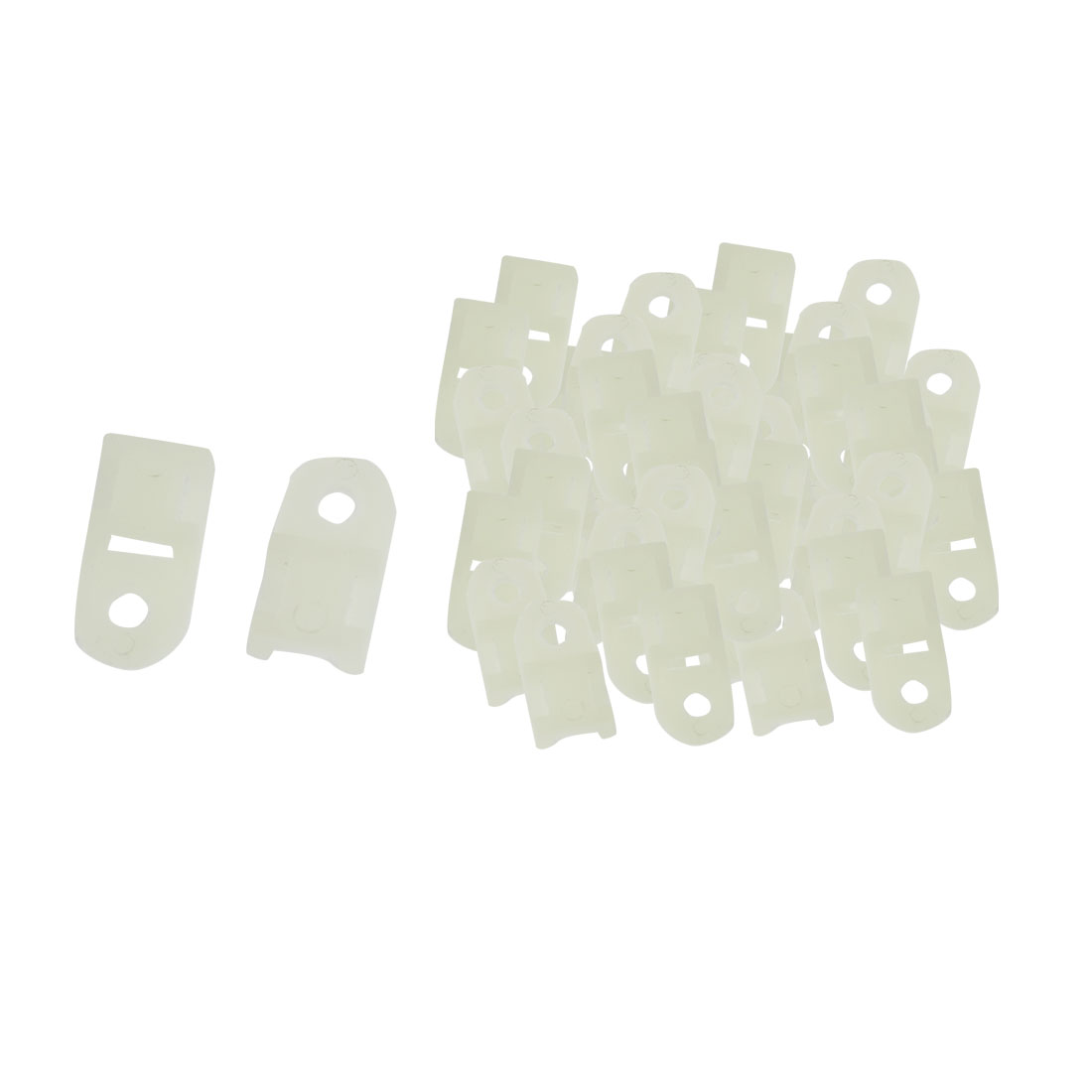 100 Pcs 5mm White Plastic Cable Tie Mount Saddle Wire Holder