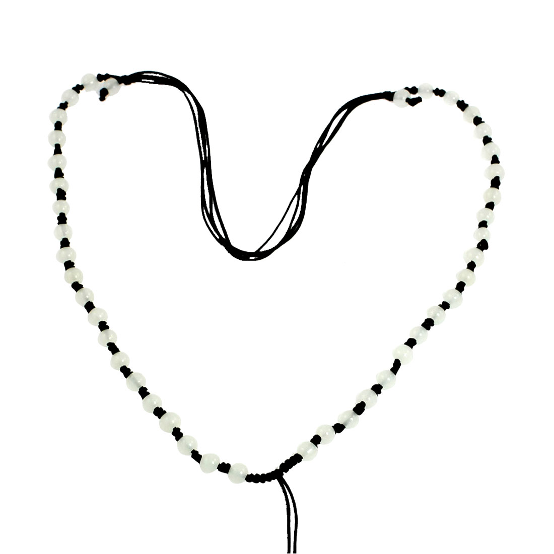 Black Nylon Braid String Plastic Beads Necklaces 4 Pcs for Lady