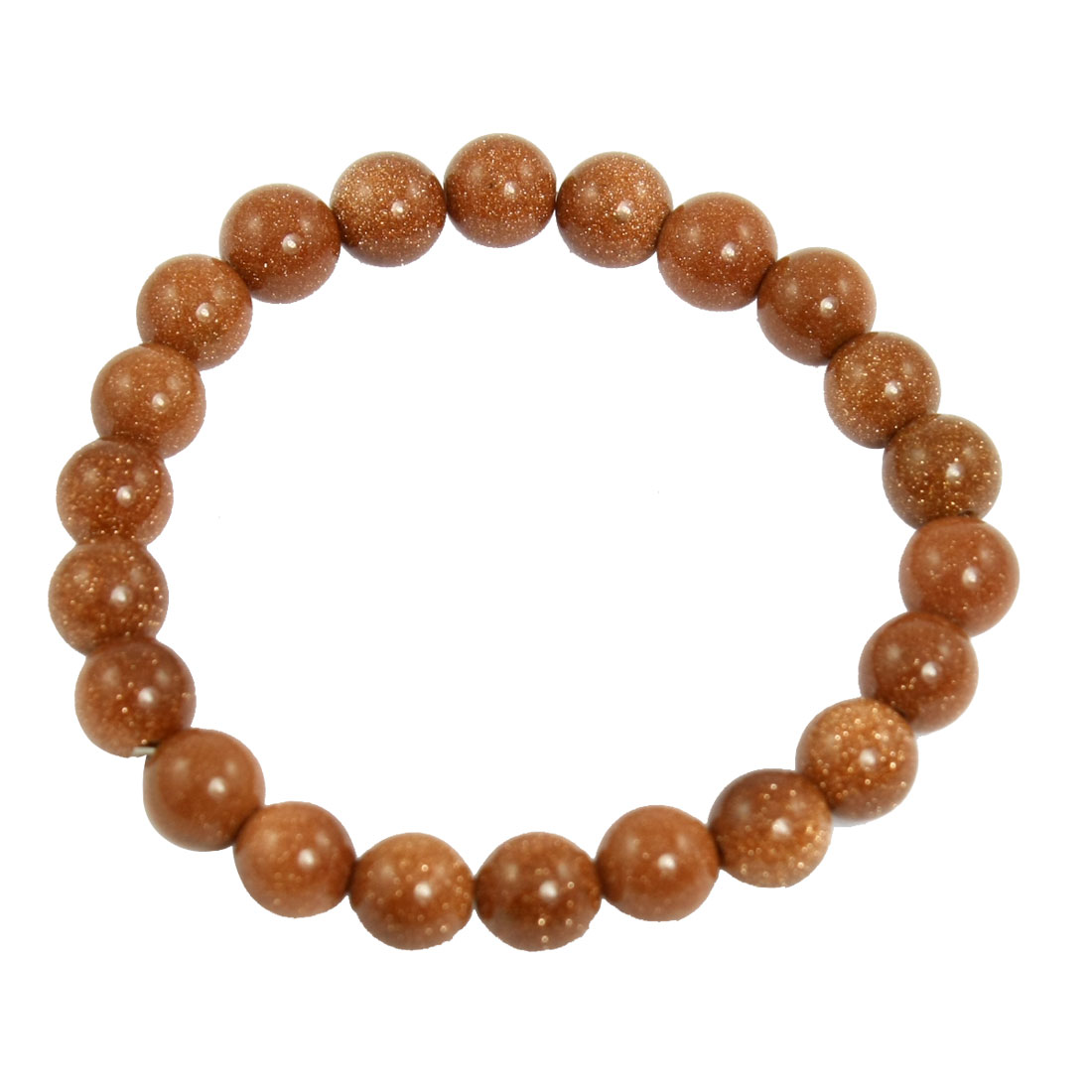 Amber Synthetic Gem Stone Round Beads Elastic String Bracelet Hand Chain