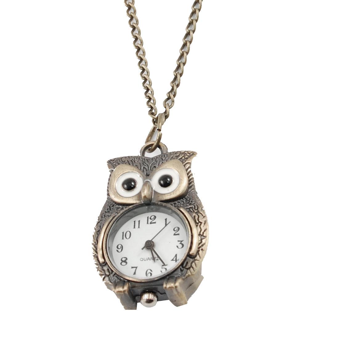 Bronze Tone Night Owl Style Pendant Round Dial Quartz Necklace Watch