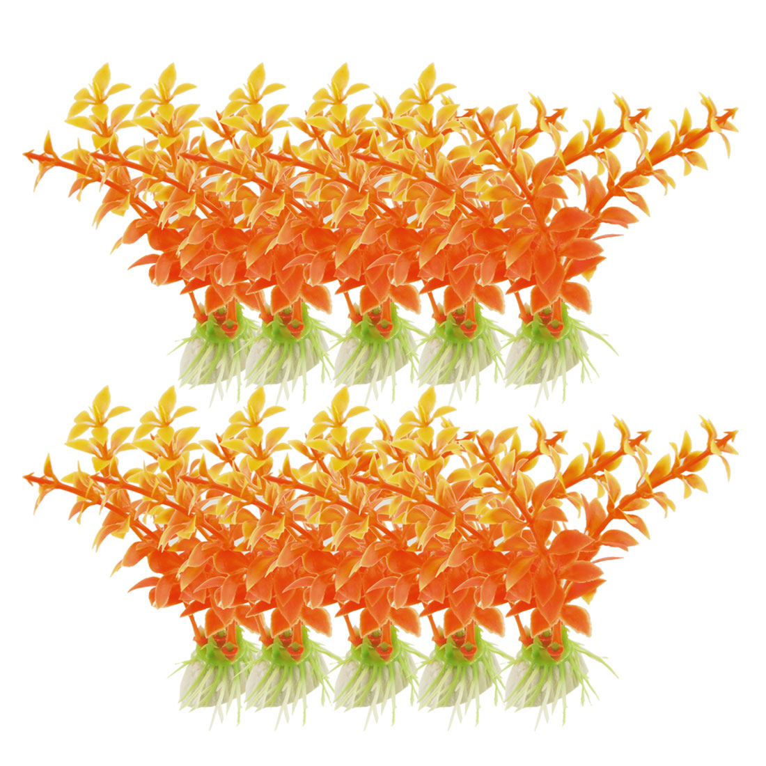 10 Pcs Fish Tank Orange Red Yellow Emulational Plant Grass Decor