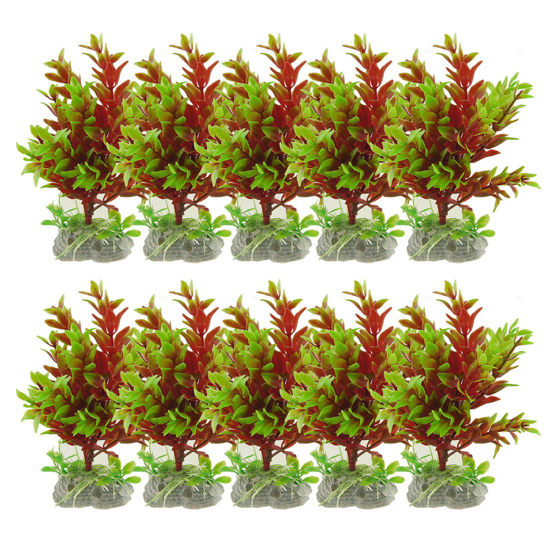 10 Pcs Fish Tank Red Green Emulational Plant Grass Decor