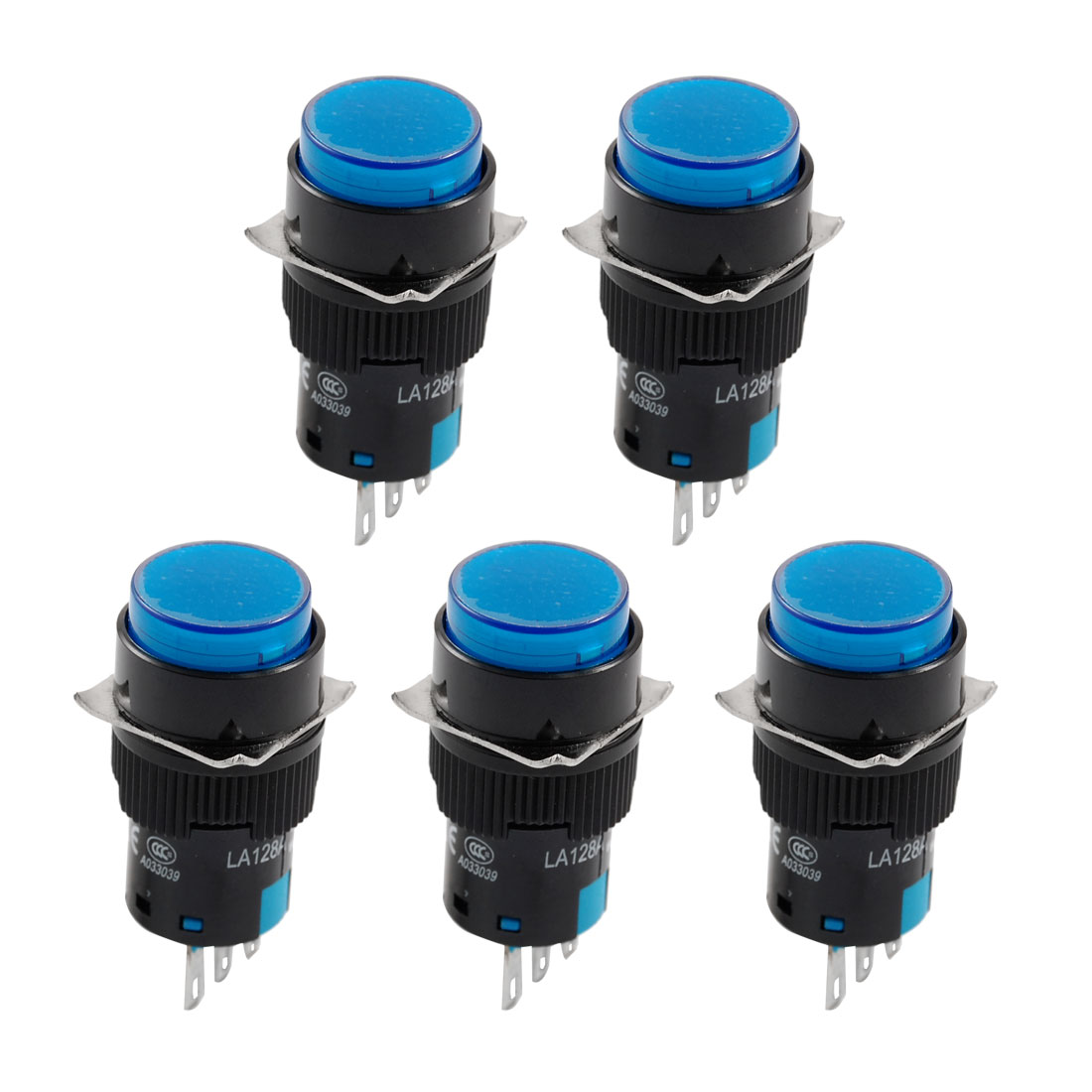 5 x Blue Round Cap Momentary 1NO+1NC Panel Push Button Switch AC 250V 5A