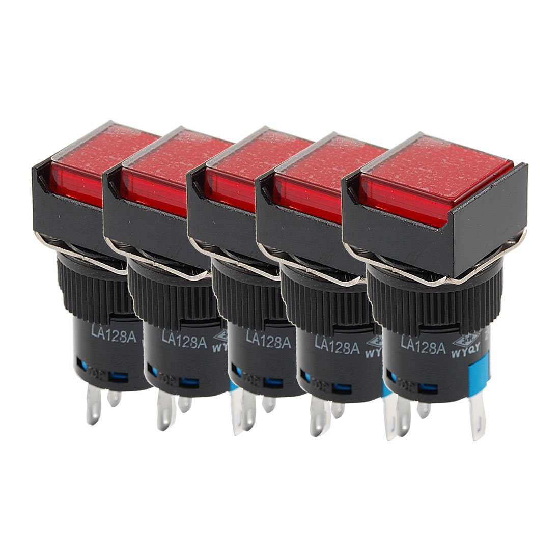 5 x DC 24V Red Light Squared Cap Latching 1NO 1NC Panel Push Button Switch