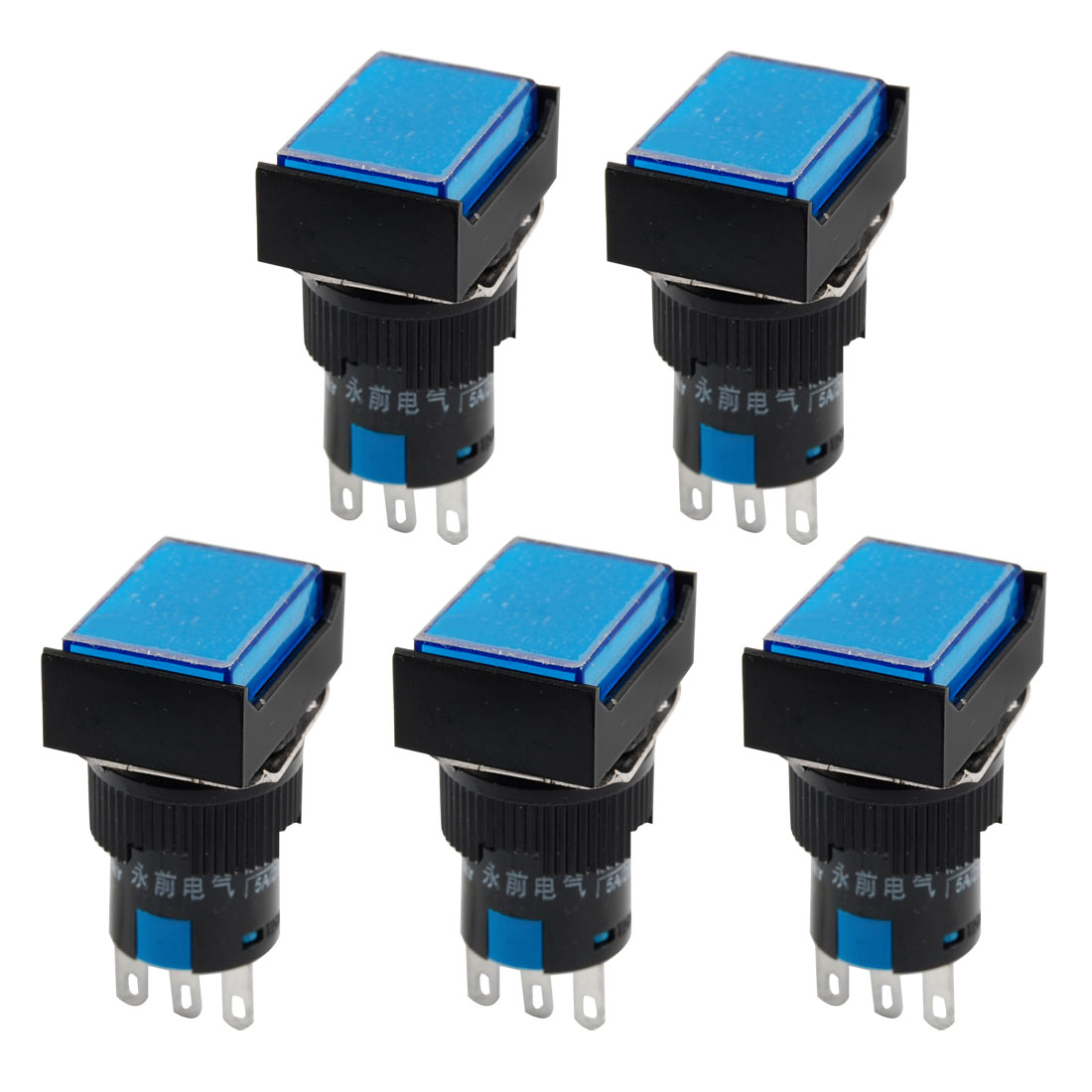 5 x Blue Rectangular Cap Momentary Panel Push Button Switch AC 250V 5A