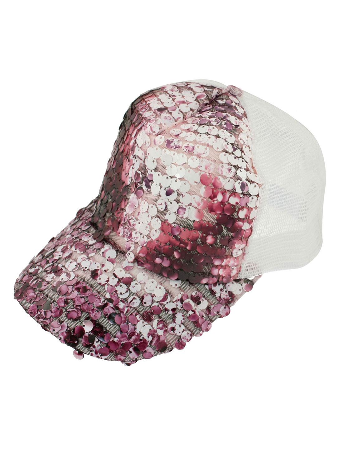 Amranth Glittery Sequin White Mesh Sun Visor Hat Cap for Women