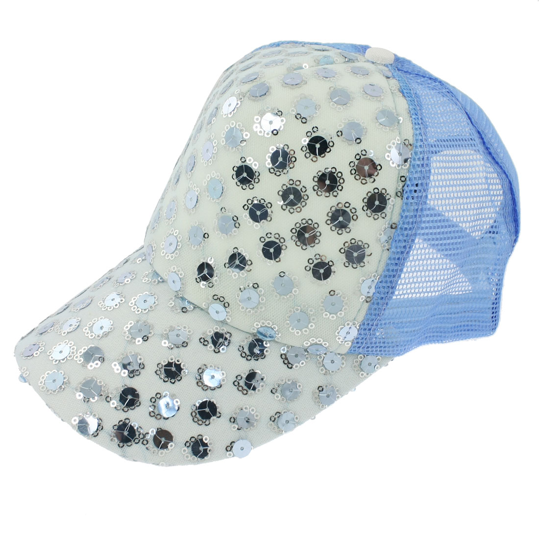 Light Blue Mesh Glittery Adjustable Summer Sun Visor Hat for Lady