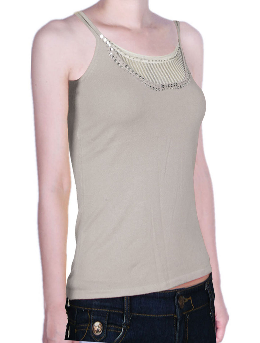 Women Bead Sequin Decor Double Strap Basic Tank Top Shirt Gray XS