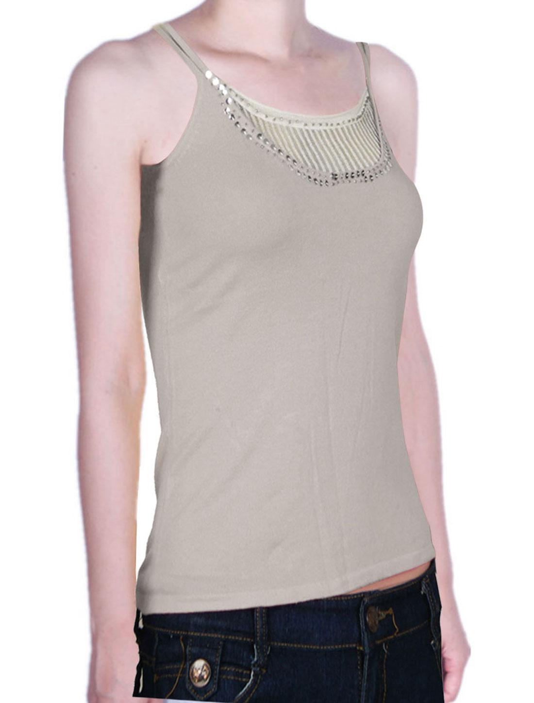 Women Bead Sequin Decor Double Strap Basic Tank Top Shirt Gray XS