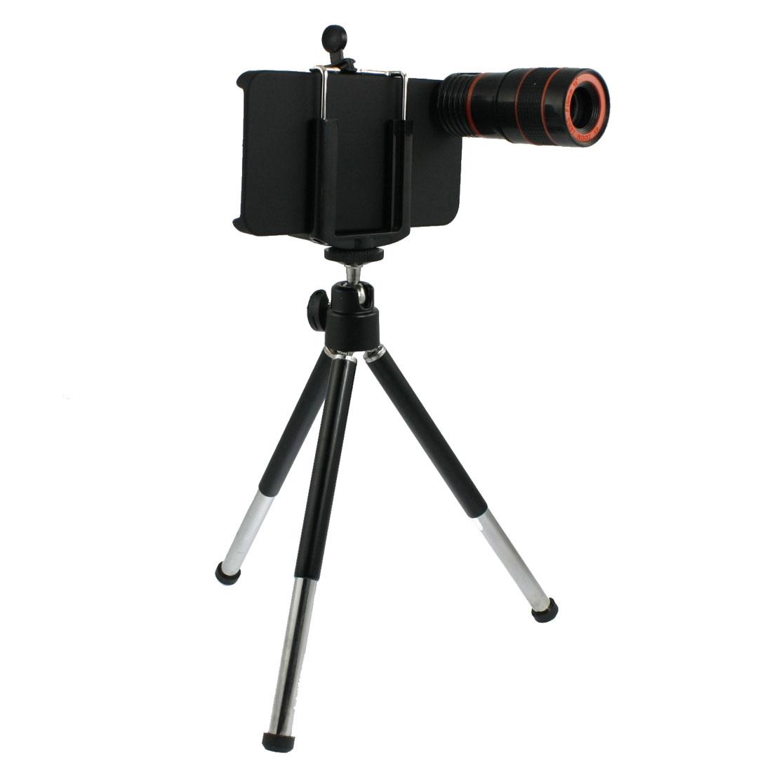 8X Zoom Telescope Camera Lens w Mini Tripod Holder Back Case for Apple iPhone 4 4G