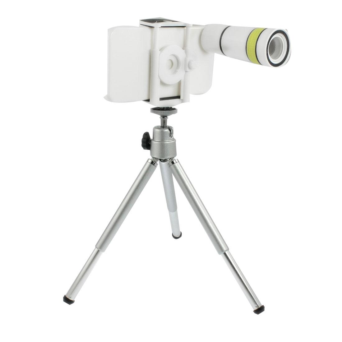 Mini Tripod Holder 10X Zoom Telescope Camera Lens w White Back Case for Cell Phone