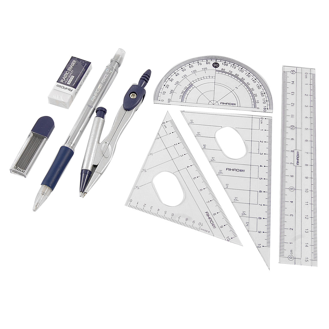 8 in 1 Office School Propelling Pencil Eraser Protractor Compass Rulers Set w Case