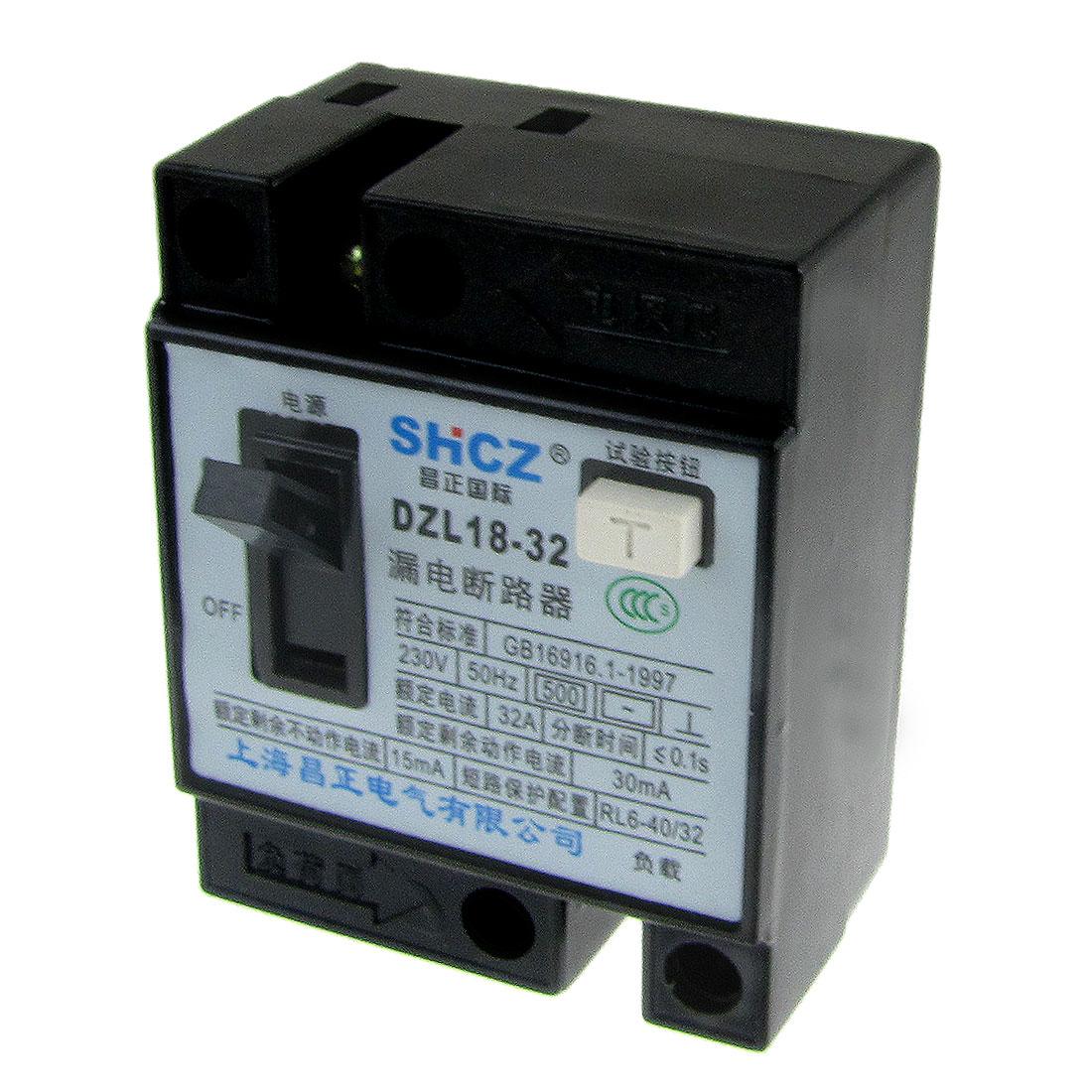 230V AC 32A 2 Poles 2P RCCB Residual Current Circuit Breaker