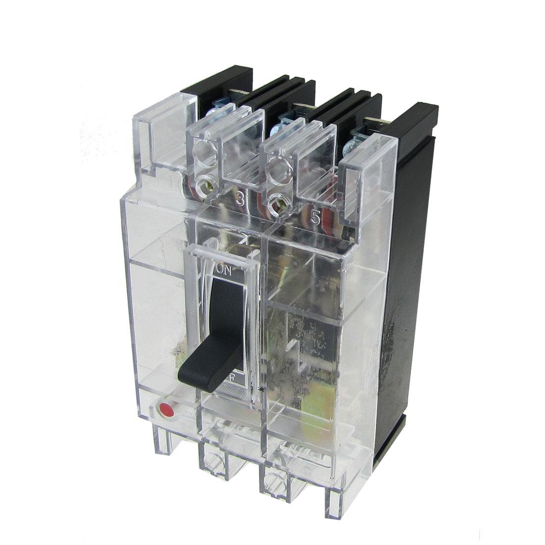 Transparent AC 380V 40A Amps 3 Poles 3P MCCB Moulded Case Circuit Breaker