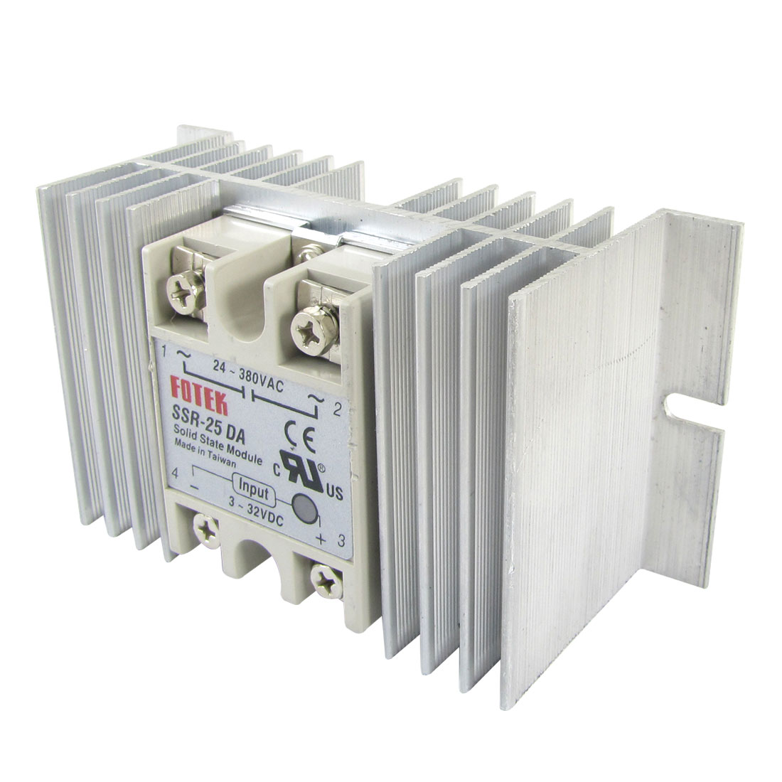 DC to AC Solid State Relay SSR-25DA 25A 3-32V 24-380V + Aluminium heat sink