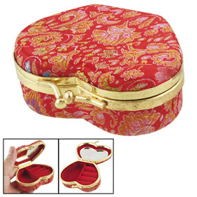 Embroidered Floral Decor Red Case Mirror Inside Jewelry Holder Box