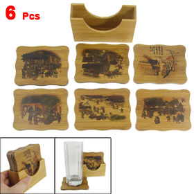 6 Pcs Chinese Ancient Style Market Calligraphy Pattern Bamboo Coasters Mats Pads Set for Coffee Glass Cup Mug
